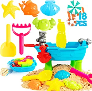 KKEATOY 18Pcs Beach Toys for Kids, Baby Play Water & Sand Table for Toddlers 1 2 3 + Years Old Outside/Outdoor Activity Sand Castle Building Kit for Boys Girls,Children Birthday