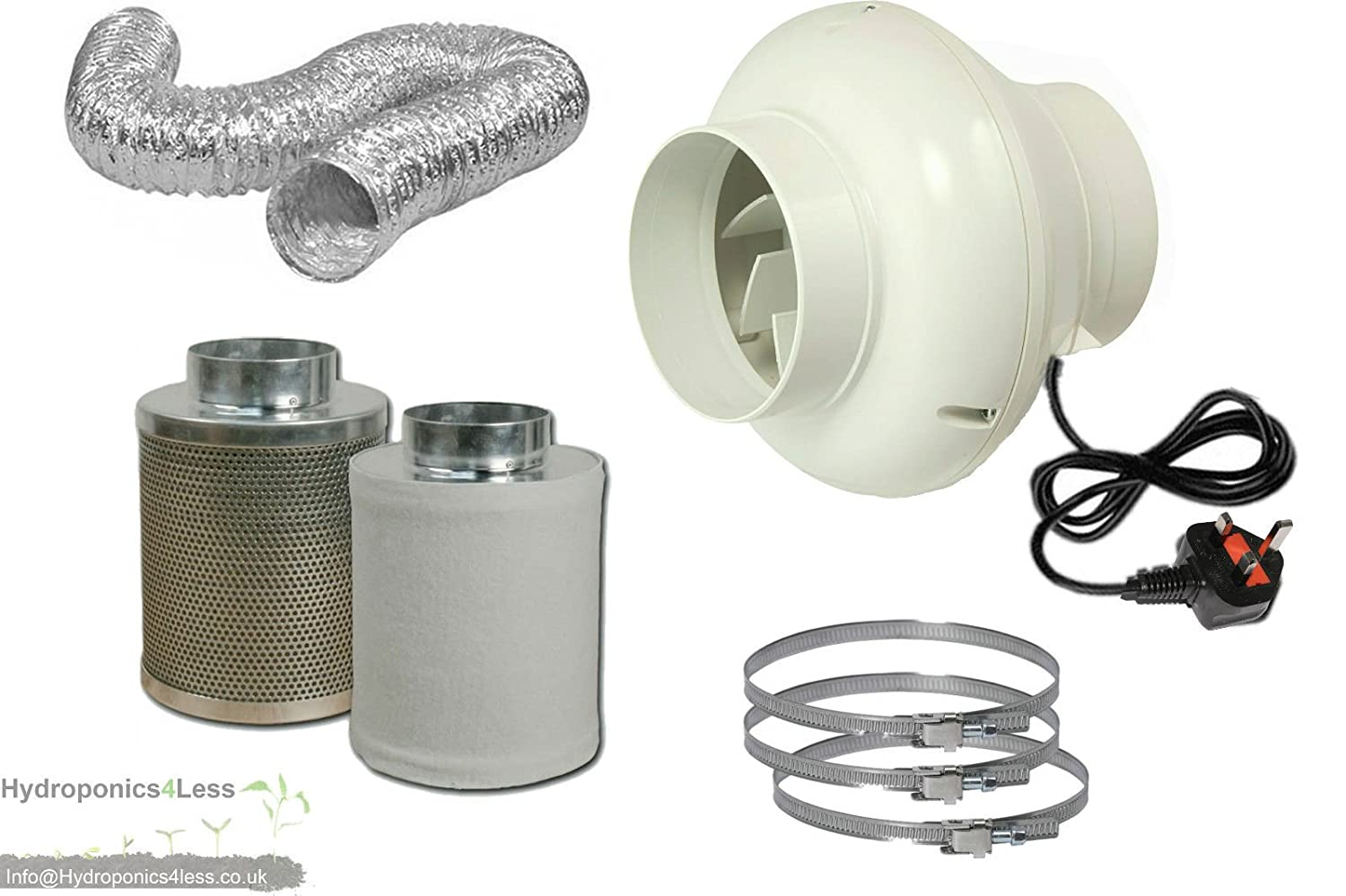 4' In Line Fan Carbon Filter & Duct Kit Hydroponic Grow Room Tent Ventilation hydroponics4less