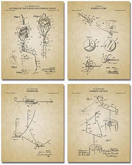 Vintage Fly Fishing Patent Art Prints Reels Lures Cabin Wall Decor Set of 2