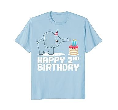 Mens Happy 2nd Birthday Boy Baby Elephant Kid Shirt Two Year 2XL Blue