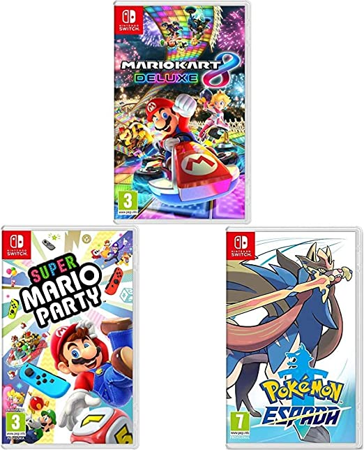 Nintendo Mario Kart 8 Deluxe + Super Mario Party + Pokémon Espada Switch: Amazon.es: Videojuegos