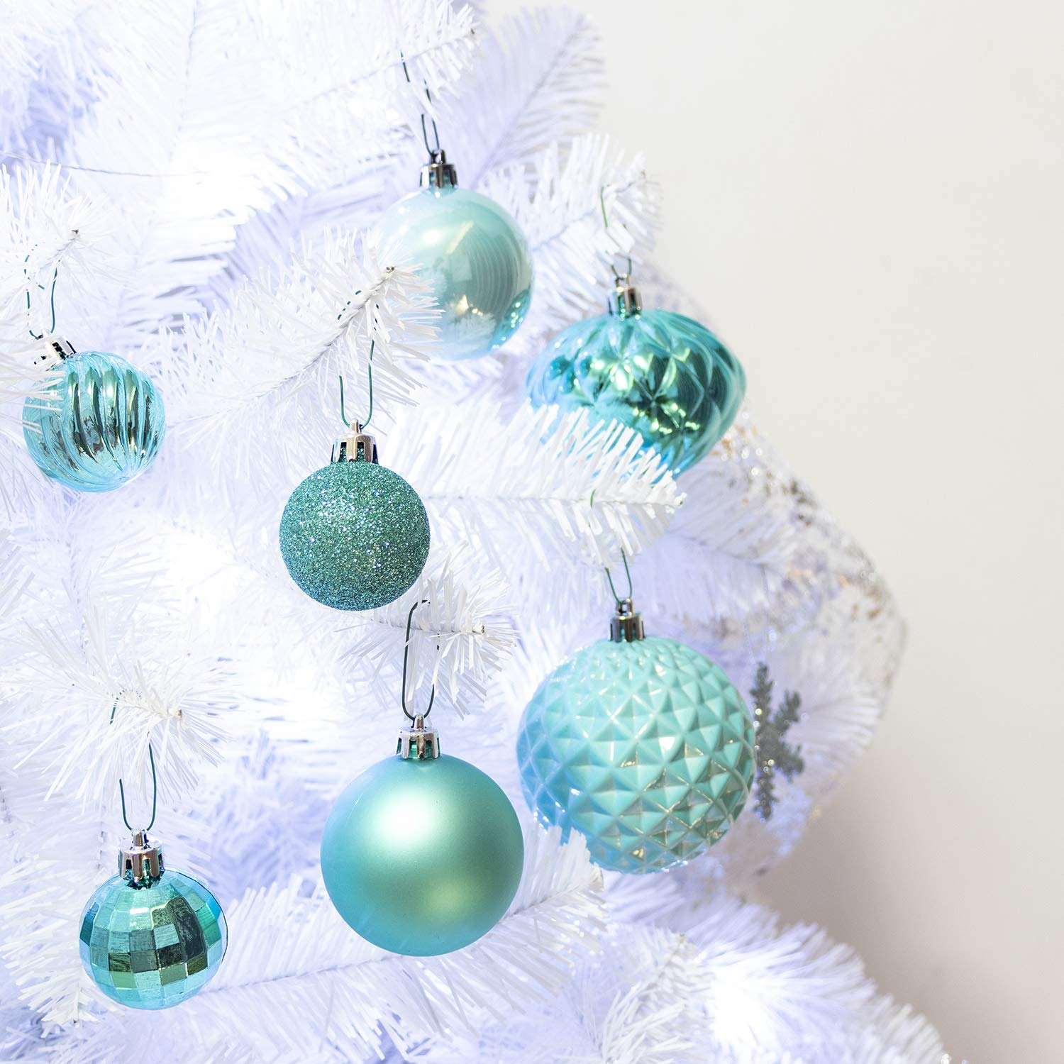 amazoncom ki store 34ct christmas ball ornaments shatterproof christmas decorations tree balls small for holiday wedding party decoration tree ornaments - Teal And Silver Christmas Decorations