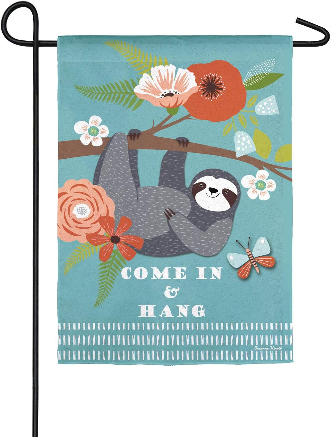 Amazon Com Come In And Hang Sloth Garden Suede Flag 13 X 1 X 18 Inches Garden Outdoor