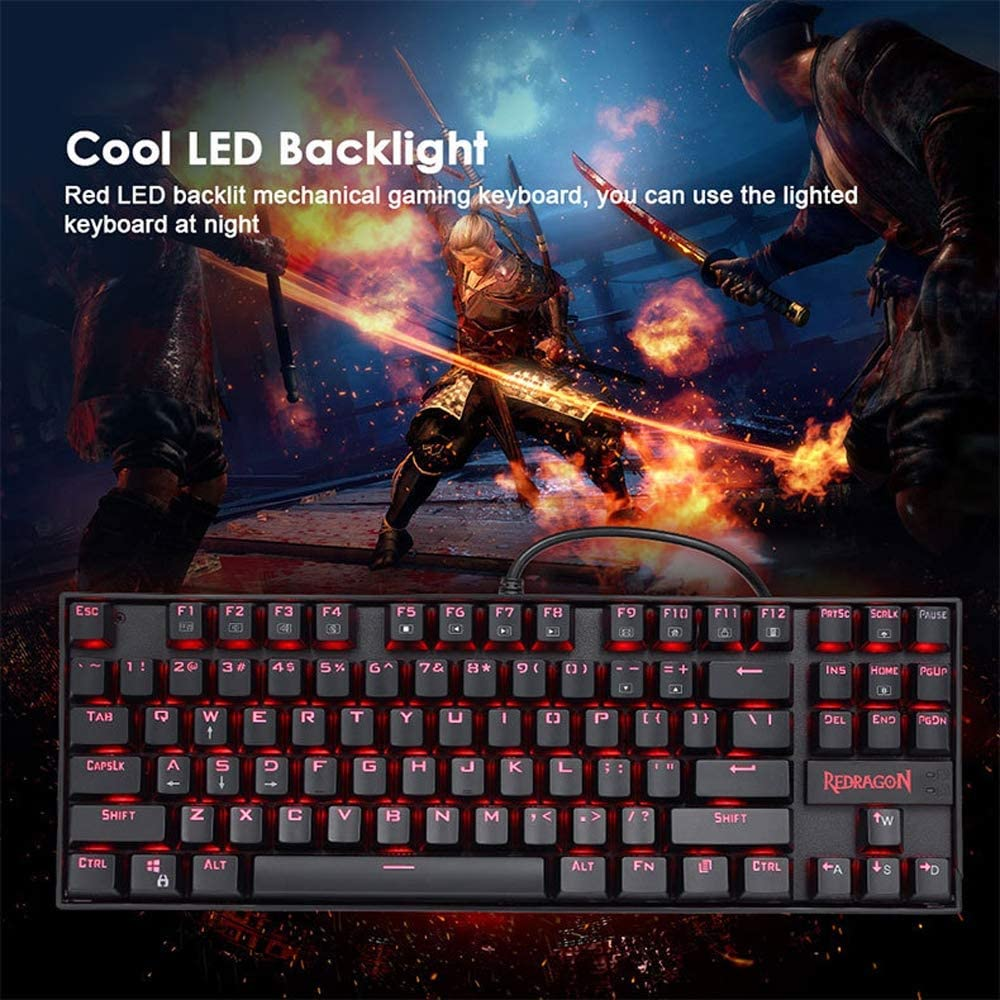JSX 87 Keys Full Anti-Ghosting Gaming Keyboard LED Backlight USB Wired Gaming Keyboard Linear /& Quiet Dust and Spill Resistant