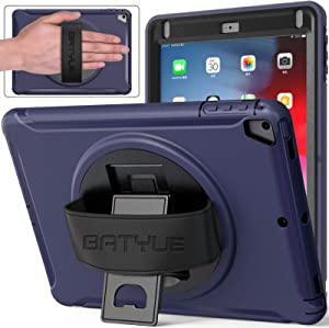 BATYUE iPad Air 2 Case/iPad Air Case for Kids, iPad 9.7 Case [Heavy Duty] Hybrid Shockproof Full-Body Protective Case with 360° Rotatable Kickstand & Hand Strap for 2018 (6th gen)/ 2017 (5th gen) Blue