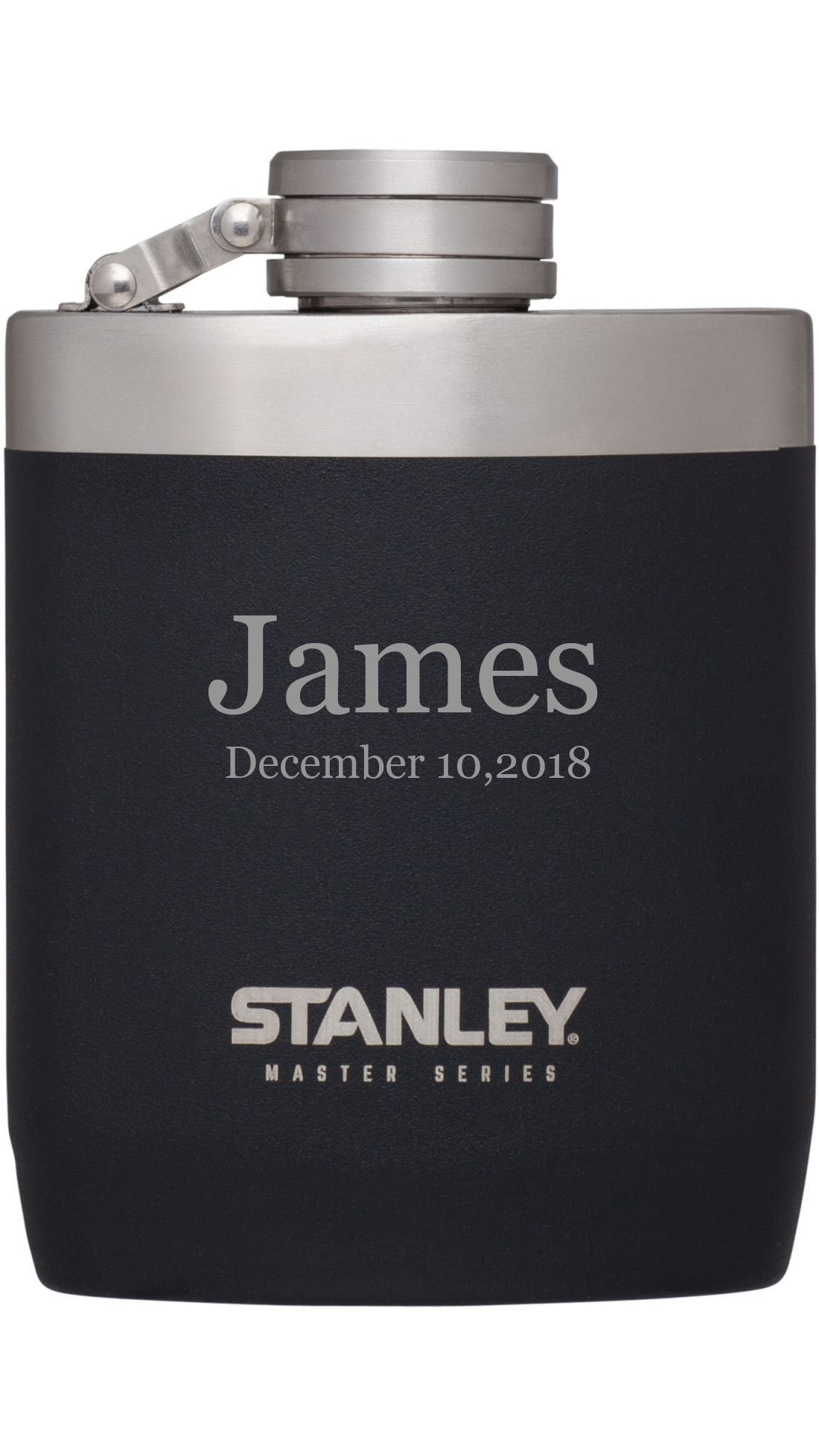 Personalized Stanley Master Series 8 oz. Heavyduty Flask - Free Laser Engraving (Black) by Stanley