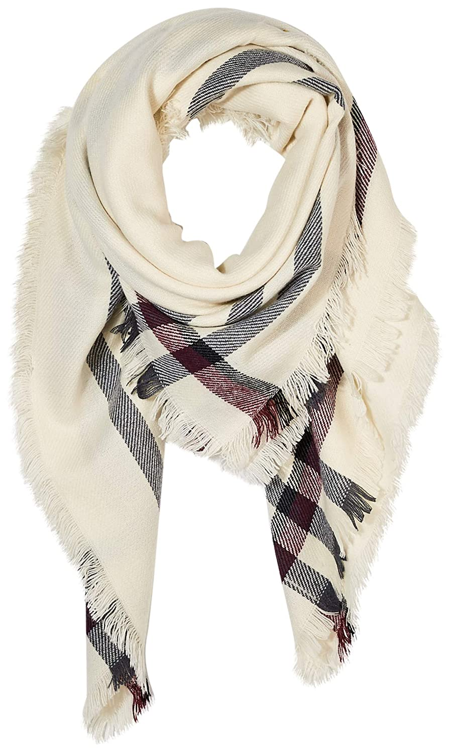 Under Zero Women Winter Acrylic Beige Plaid Fringe Wrap Warm Large Square Scarf 0618A1969