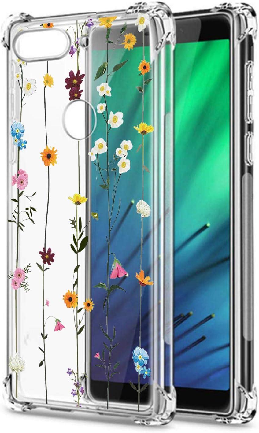 Oihxse Cristal Compatible con Huawei P20 Funda Transparente TPU Silicona Estuche Airbag Esquinas Anti-Choque Anti Rasguños Diseño Rosa Flower Caso (Flores A3)