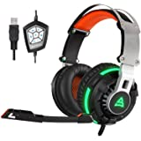 [2016 Newly Released Headset]SUPSOO G800 USB Wired Surround Stereo PC Over Ear Gaming Headset Headband Gaming Headphones with Rotating Mic Noise Canceling Vibration Tuner Function and LED Light(black)