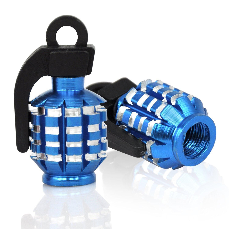 TRIXES Paire de grenades manuelles bleues de marque caches anti-poussi/ère pour soupapes en alliage pour moto MTB BMX Voiture de marque