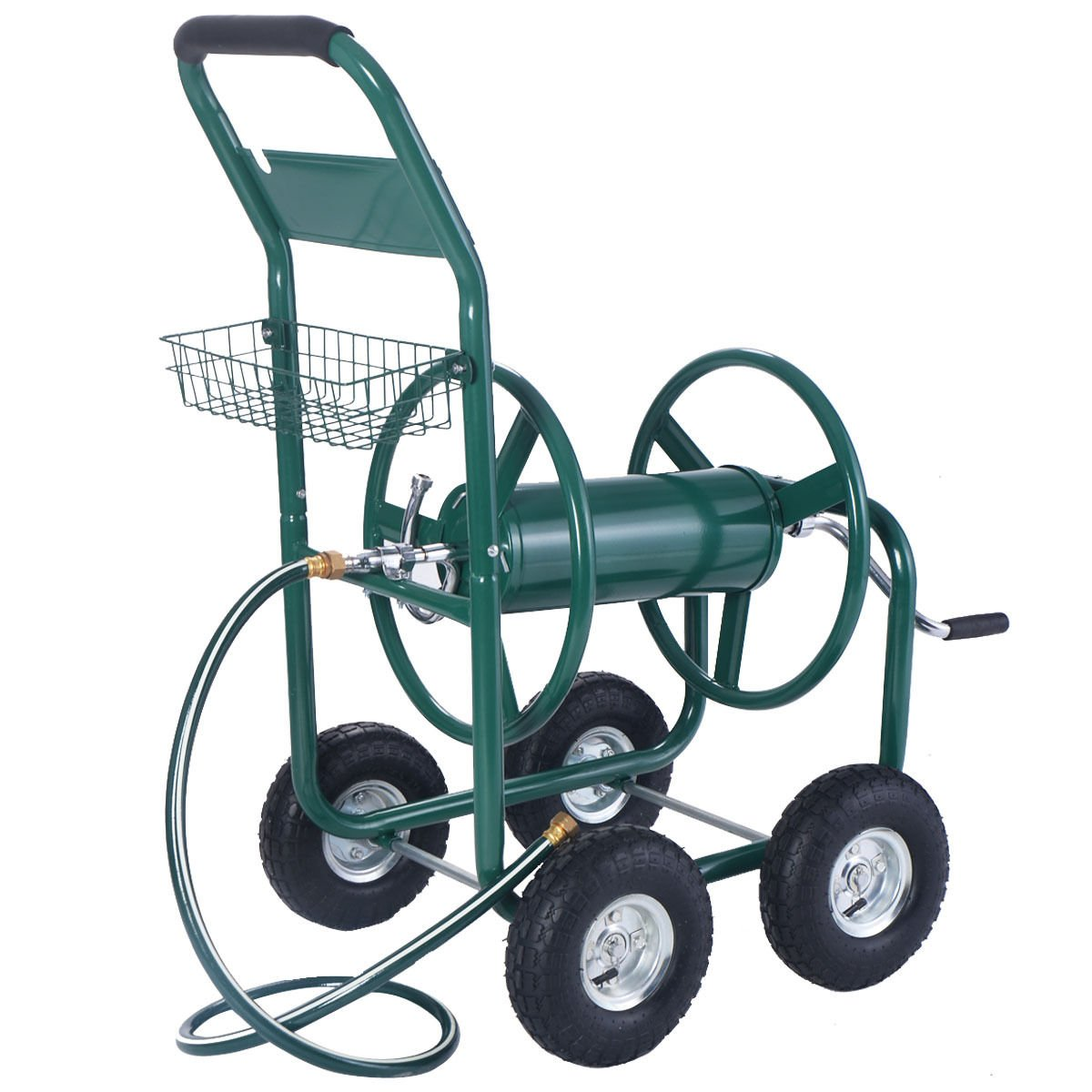 Wakrays Garden Water Hose Reel Cart 300FT Outdoor Heavy Duty Yard Planting W/Basket New by Wakrays (Image #3)