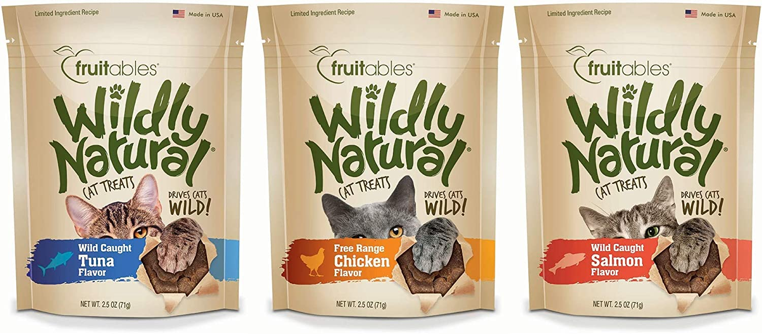 Fruitables Wildly Natural Wild Caught Tuna, Chicken, and Salmon Flavor Cat Treats Variety Pack, 2.5 Ounces Per Pack