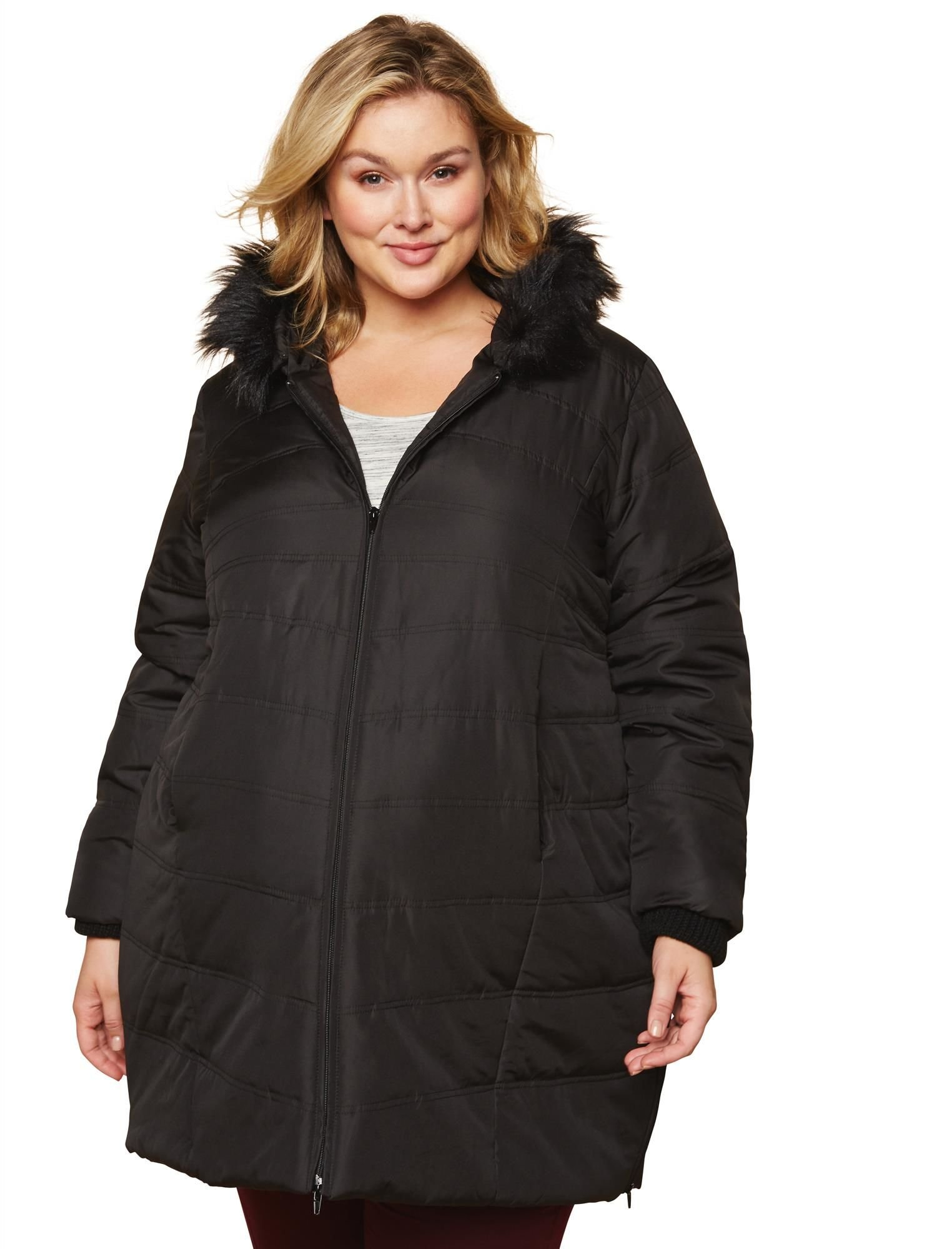 Motherhood Maternity Women's Maternity Plus-Size Puffer Coat with Attached Hood and Fur Trim Detail, Black, 2X
