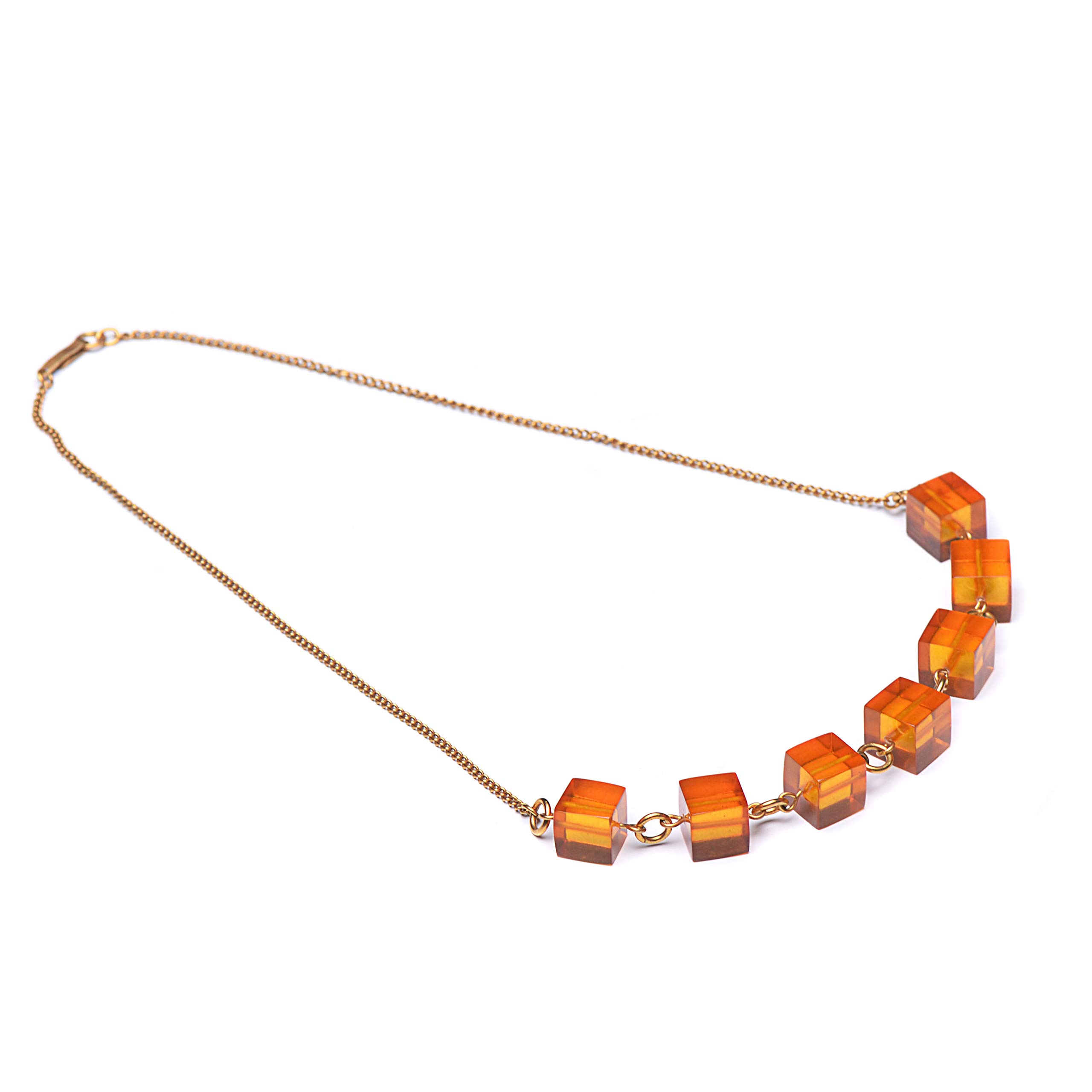 Necklace with Amber Pendants - Gold Color Chain with Cognac Amber Pendants - Baltic Amber by Genuine Amber