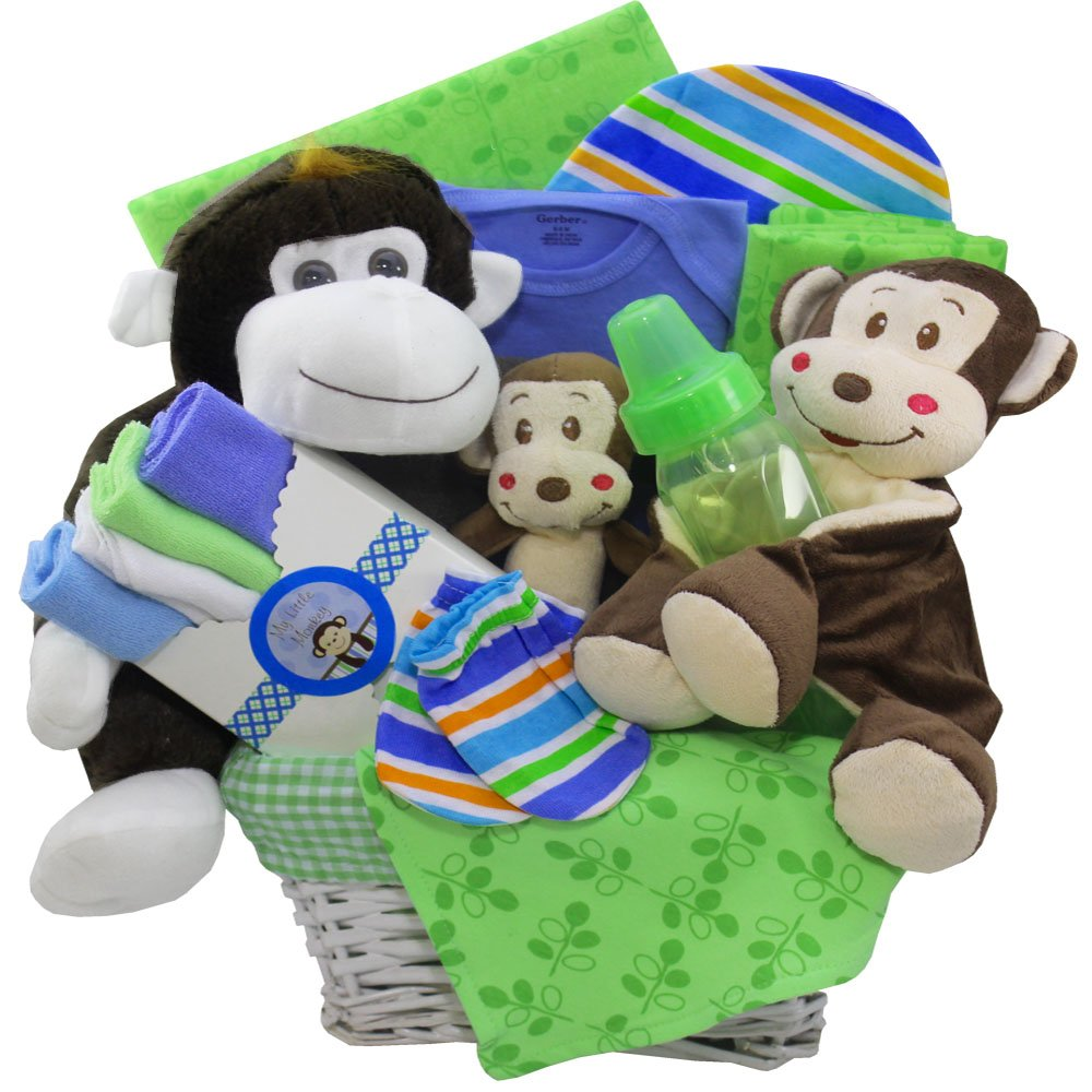 Monkey Business New Baby Gift Basket, Neutral Boy or Girl