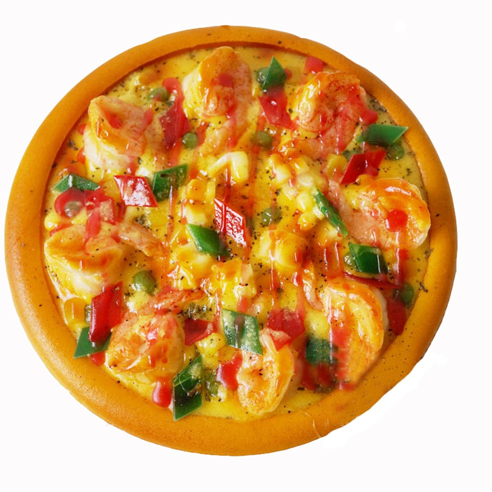Transcend11 Fake Shrimp Pizza Faux Simulation Lifelike Meat Food Home House Party Kitchen Cabinet Desk Decoration Hotel Store Display Model Photography Props Kids Play Food Toy