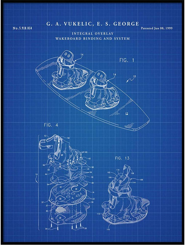 Wakeboard Blueprint Art, Patent Poster Print, Wakeboarding Poster, Wakeboard, Water Sport Decor, Ski, Skiing, Patent Printable, QP672