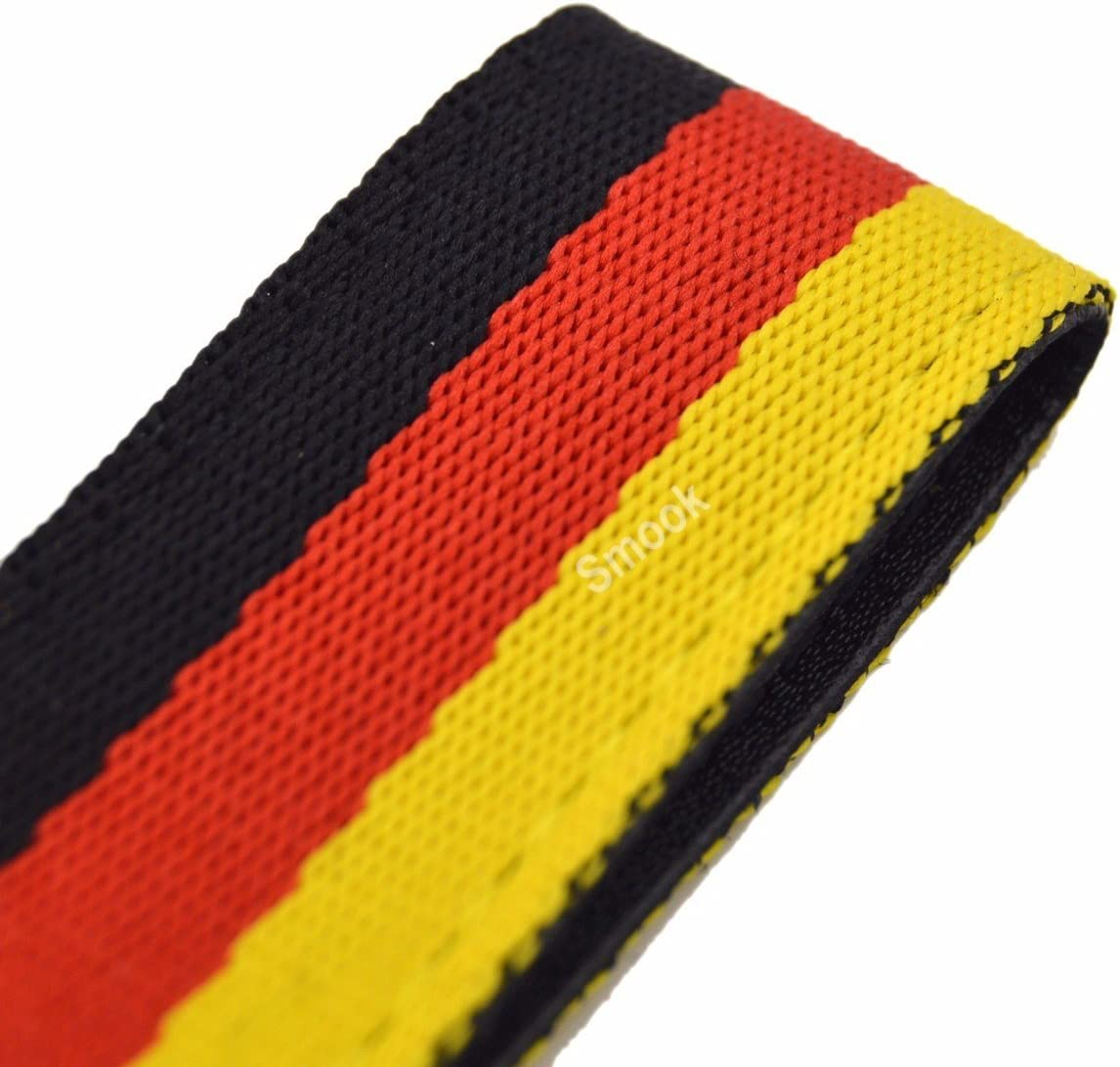 Germany Flag Stripe Nylon Band w// Inner Leather Key Chain Strap Trim Decal for VW Audi Mercedes Porsche ect Europe Car
