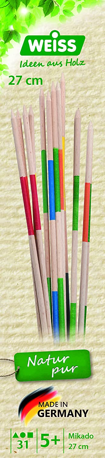 Weiss Natur Pur Weiss Natur PurB33210 31 Pieces Mikado Dexterity Game in Wooden Box, 27 cm, Multi Color