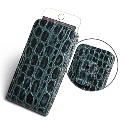054274dd1d39d iPhone 6 Phone Holster Case (Green Crocodile Pattern)