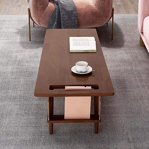 WoodShine Mid Century Modern Coffee Table Japanese Floor TeaTable Solid Rubber Wood Sofa Tables