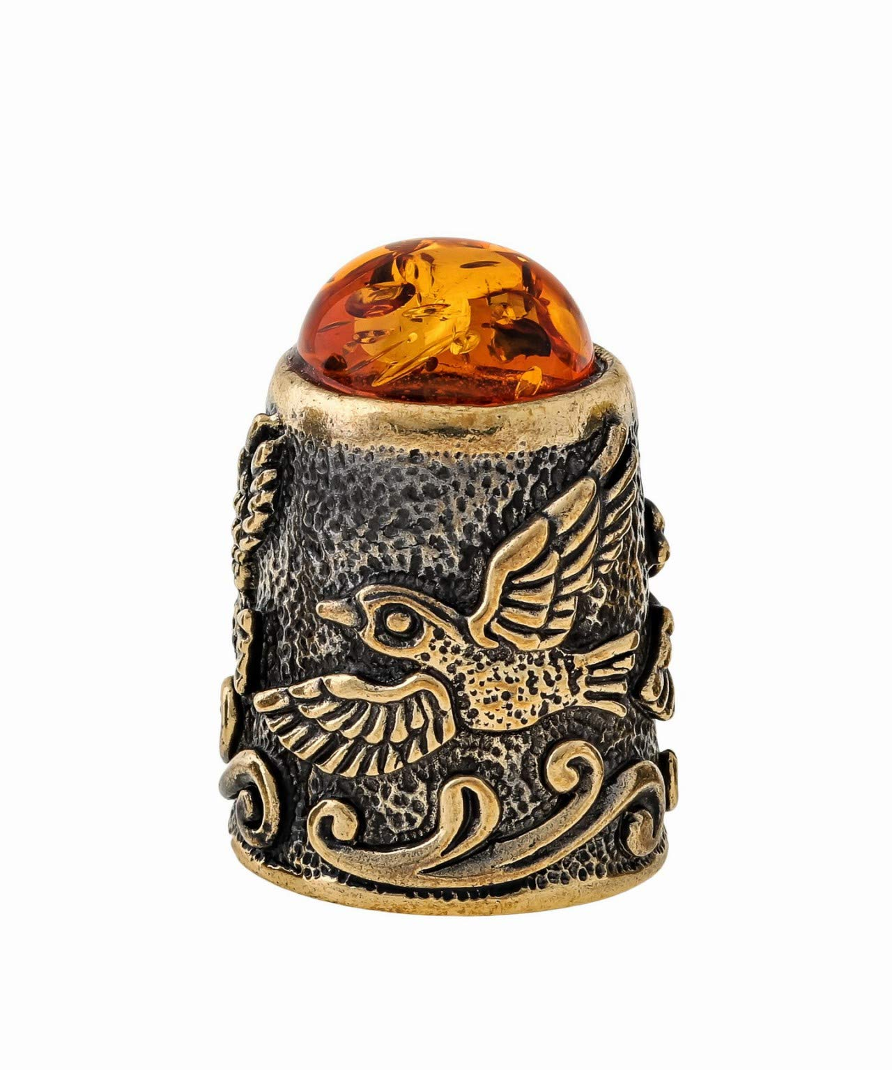 Amber and Brass Collectible Thimble (Bird) Decorative Souvenir Thimbles. Antique and Vintage Designs from Kaliningrad, Russia.Packed in a Beautiful Siberian Birch Bark Gift Box(Random Selection) by Brass and Amber Art