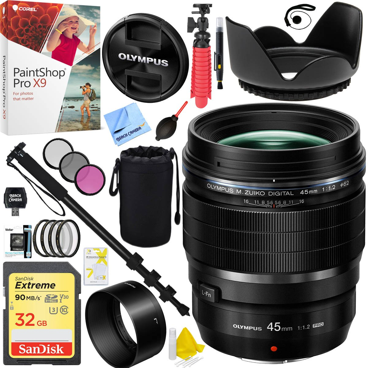Olympus M.Zuiko Digital ED 45mm f1.2 PRO Lens V311090BU000 with 32GB Extreme Memory Card Plus 62mm Filter Sets and Accessories Bundle by Olympus