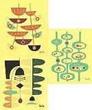 Swedish Dishcloths, Set of 3 Mid-century Modern Designs by Jenn Ski - (Wasabi/Blue Grass/Orange on Yellow)