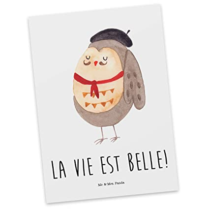 Panda Postkarte Eule Französisch /& Mrs Mr