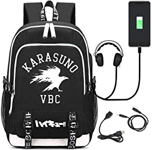 Siawasey Japanese Anime Cosplay Luminous Backpack Daypack Bookbag Laptop School Bag with USB Charging Port