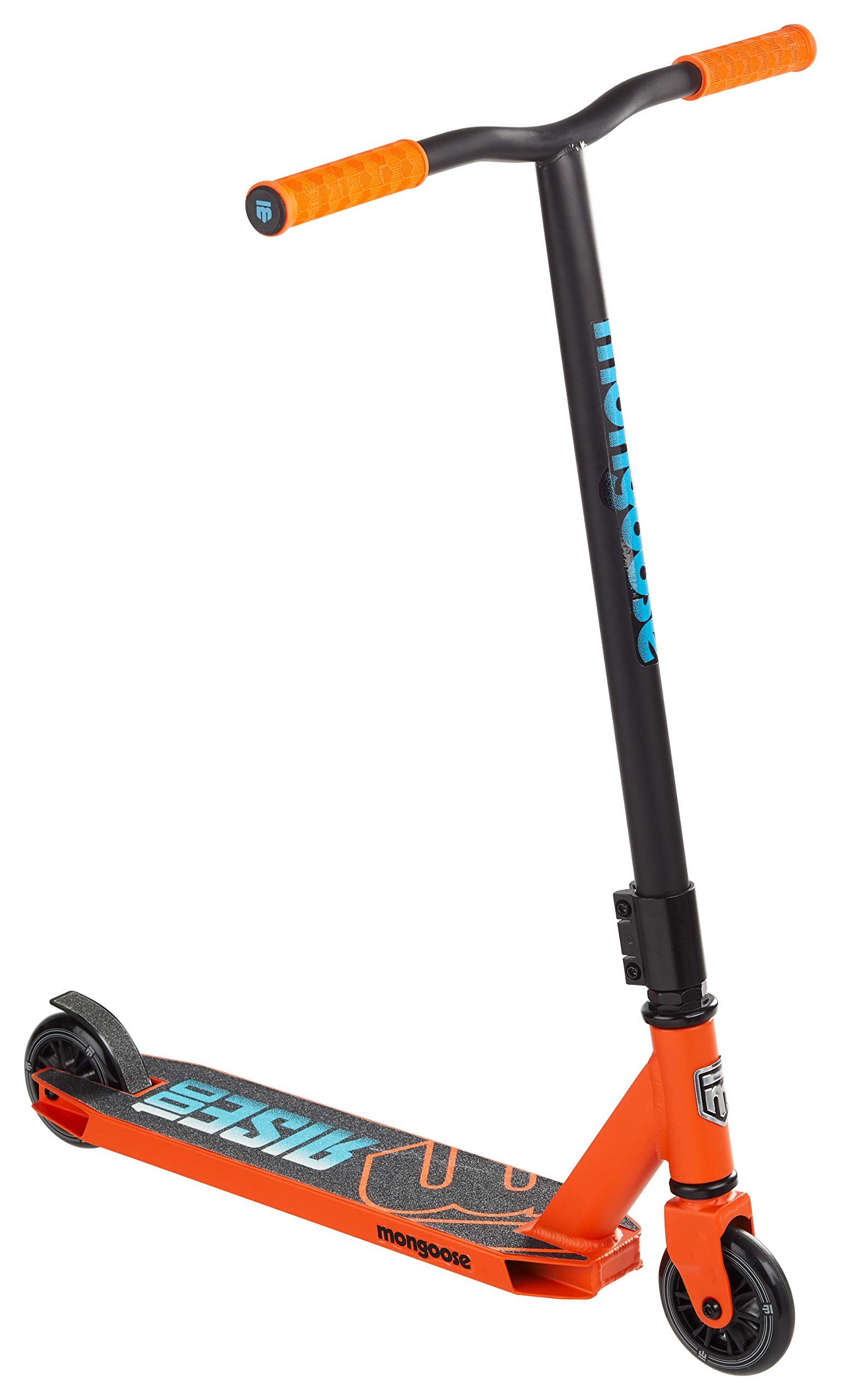 Mongoose Rise 100 Freestyle Stunt Kick Scooter, Featuring Lightweight Alloy Deck with Full-Coverage Max Grip and Bike-Style Handlebars, 100mm Wheels, Orange/Blue