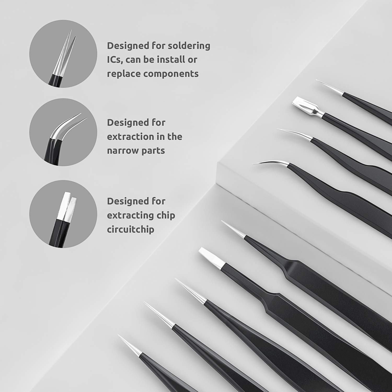 ESD Tweezers Kit Stainless Steel SunFounder 9pcs ESD Tweezers Kit Precision Anti-Static Tweezers Set Non-Magnetic Multi-Standard Stainless Steel Mai