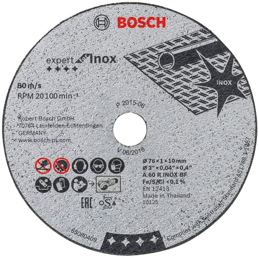 Bosch Professional 2608601520 Disco abrasivo de Corte Recto 5 uds (Expert for INOX, Accesorios para amoladoras con inserción de 10mm), Gris