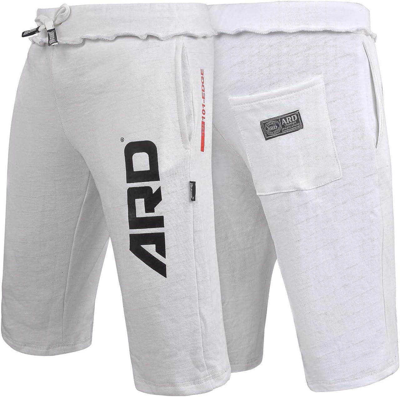 ARD CHAMPS Mens Cotton Fleece Shorts Jogging Casual Home Wear MMA Boxing Martial Art Jogger (S-XXL) (White, Medium)