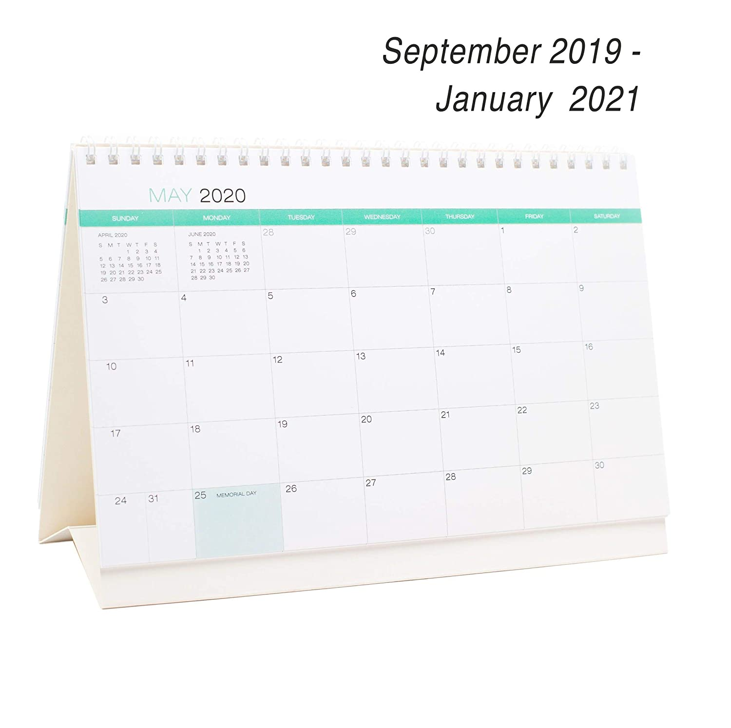 Desk Calendar From September 2019 Through January 2021 - 17 Months Classic Flip Calendar - Monthly Calendar Planner - Daily Planner - Desktop Calendar 2019-2021 - Tent Office Calendar