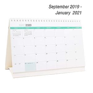 Desk Calendar From September 2019 Through January 2021 - 17 Months Classic Flip Calendar - Monthly Calendar Planner - Daily Planner - Desktop Calendar 2019-2021 - Tent Office Calendar