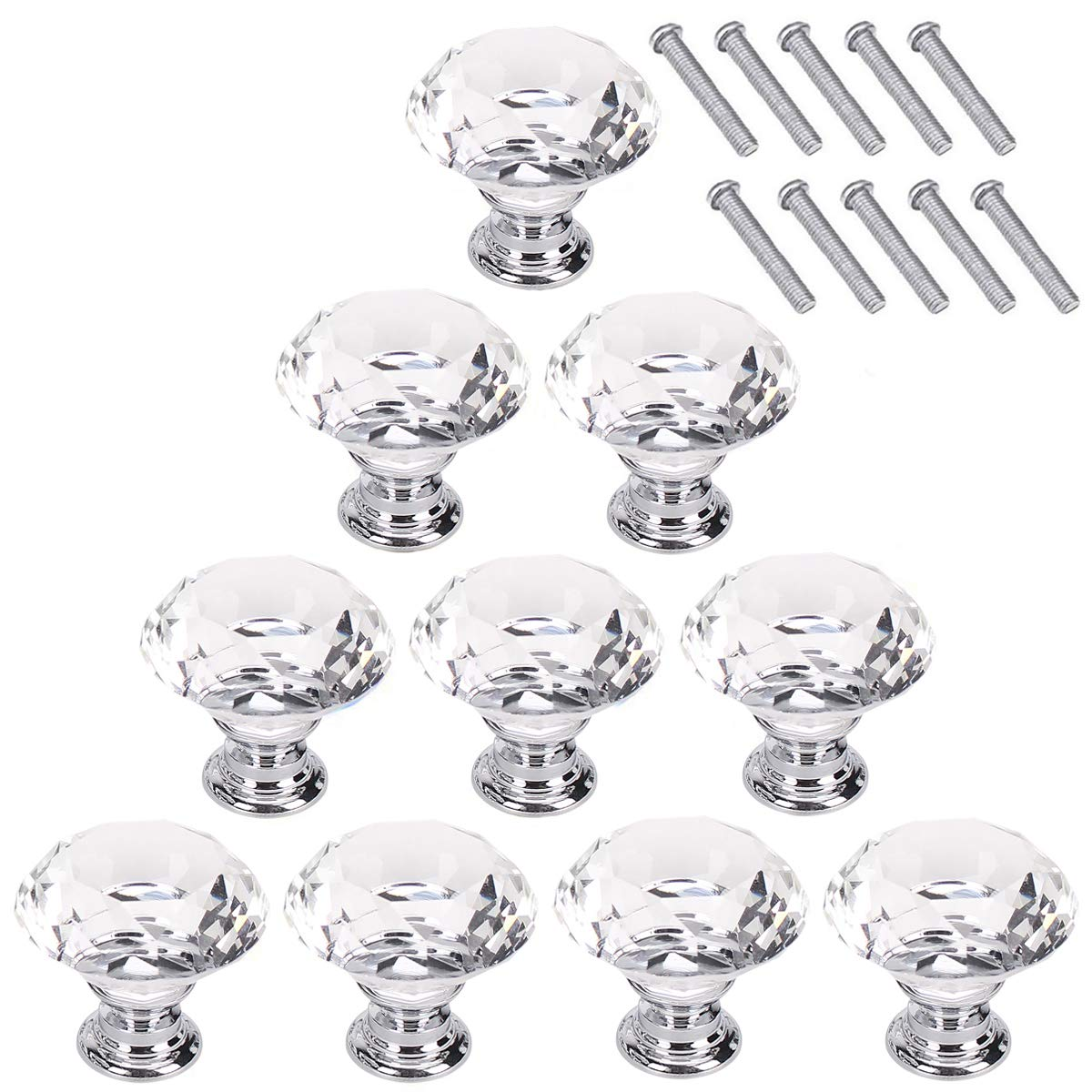AKRover 10 Pcs Crystal Glass Cabinet Knobs 30mm Diamond Shape Drawer Kitchen Cabinets Dresser Cupboard Wardrobe Pulls Handles (Clear)