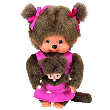 Monchhichi 23620 - Mono de peluche (20 cm), diseño de mamá y cría, color rosa: Amazon.es: Juguetes y juegos