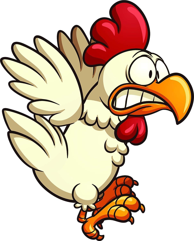 Amazon Com Crazy Silly Running Scared Chicken Cartoon Vinyl Sticker Flying Automotive