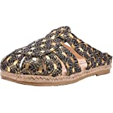 T&W women's handmade embroidery fabric espadrilles slippers Mules & Clogs shoe