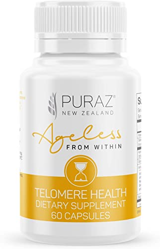 Puraz Telomere Supplements w Potent Astragalus Root Extract and Collagen Superior Immune Support, Anti-Aging, DNA Repair Pure Telomerase Enzyme for Telomere Lengthening and Support 60 Capsules