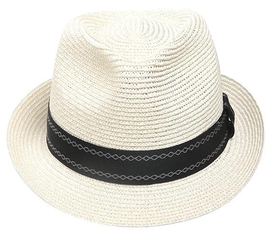 cc72e7e1785 Decentron Men s Straw Trilby Fedora Hat Short Brim Panama Resort Hat  (Black)  Amazon.co.uk  Clothing