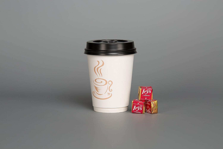 12oz Papel Caf/é T/é tazas 100/x 12oz desechables bebidas calientes fr/ío doble pared y negro tapas parte viajes picnic Take Away