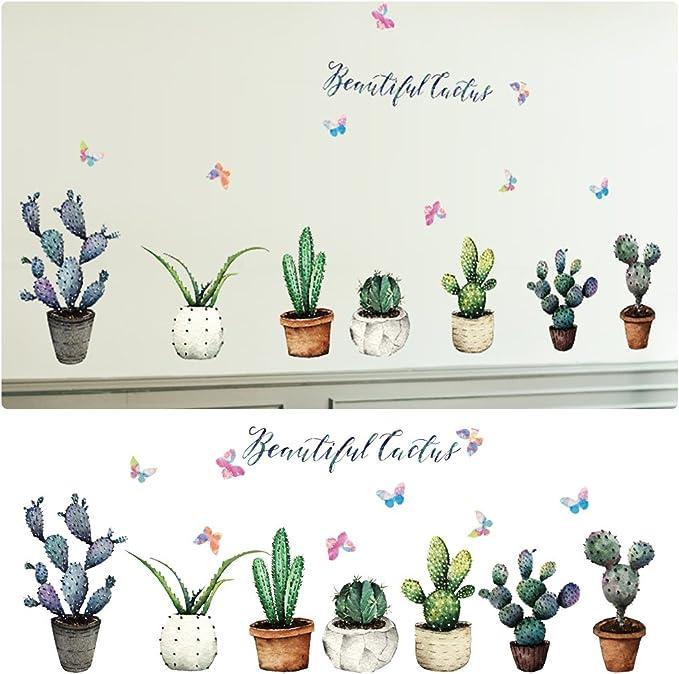 Autocollant Stickers Muraux Cactus Plantes en pot D/écor Mural D/écoratif Wall Stickers pour Cabinet Fen/être Salon Bureau et Salle de classe
