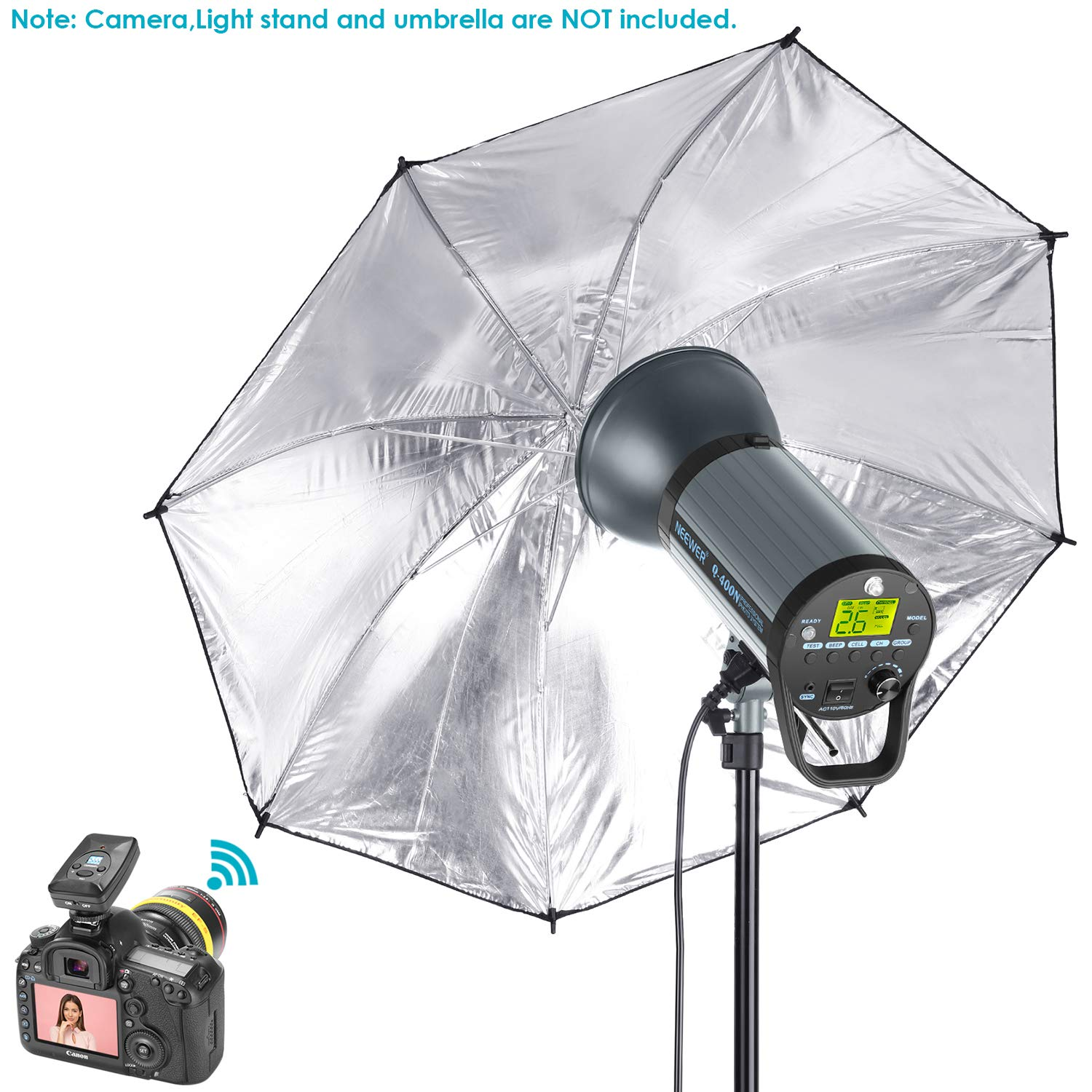 Recycle in 0.01-0.5 Sec Q400N Neewer 400W GN65 Studio Flash Strobe Light Monolight with 2.4G Wireless Trigger and Modeling Lamp Bowens Mount for Indoor Studio Portrait Photography