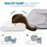 Memory Foam Contour Pillow Hypoallergenic Neck Pillow with Orthopedic Design for Neck Support and Pain Relief, Cervical Pillows for Sleeping with Removable Pillow Cover by TAMPOR, Standard/Queen