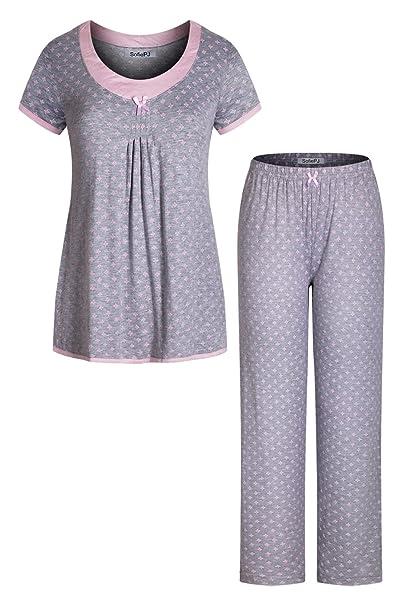 b4fad9e308c5 SofiePJ Women s Rayon Printed Short Sleeve Long Pants Pajama Set Grey Pink  S(553573)