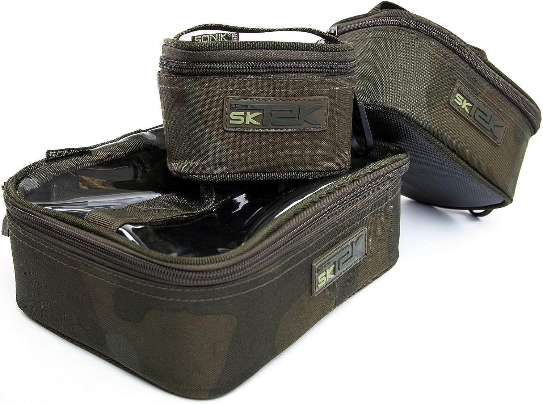 bolsa peque/ña para accesorios de pesca con cremallera dise/ño de camuflaje bolsa para pesca de carpas Sonik SK-TEK Bolsa para accesorios de pesca bolsa para pesca de carpas