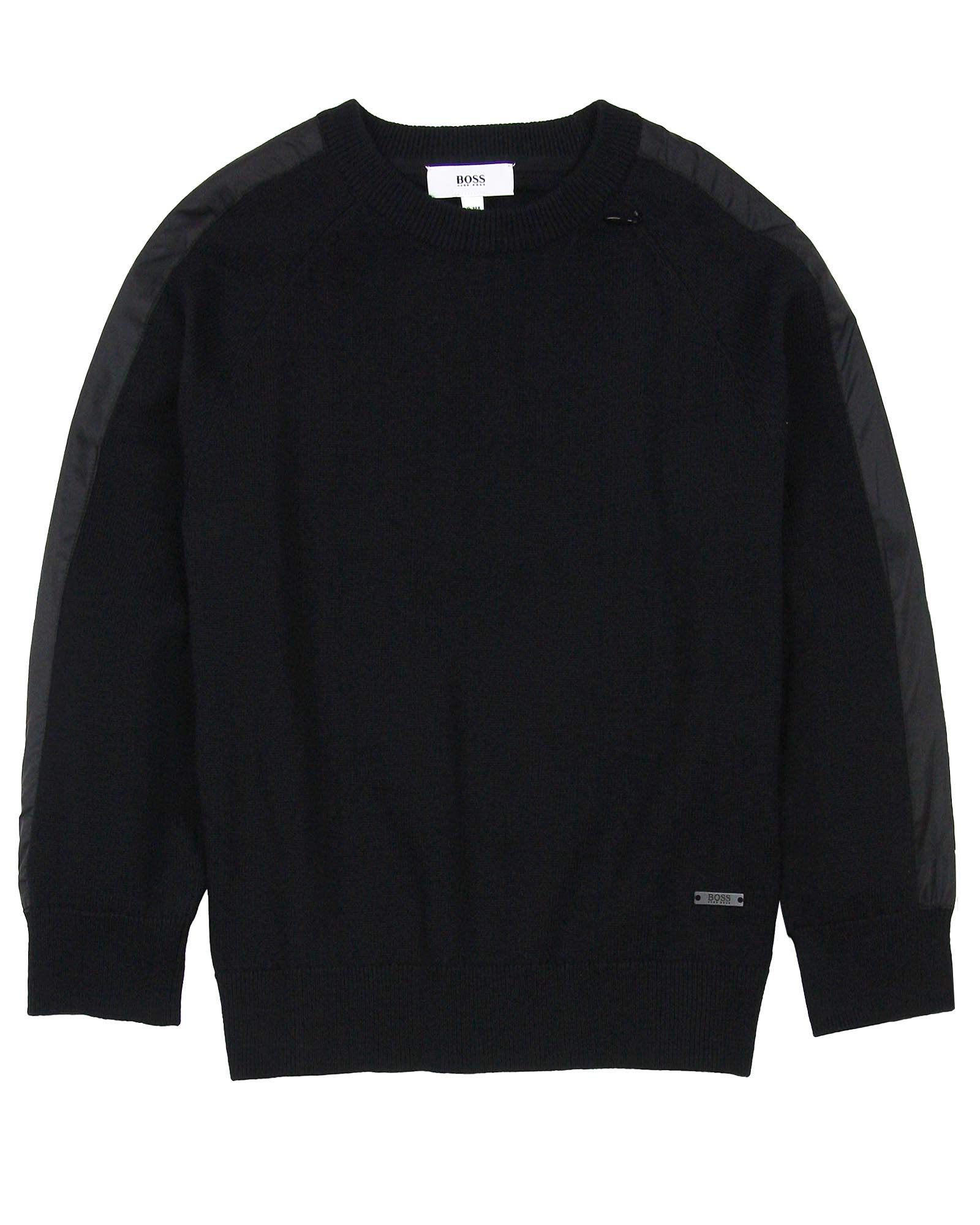 BOSS Boys Pullover with Side Stripes, Sizes 6-16 - 10 Black