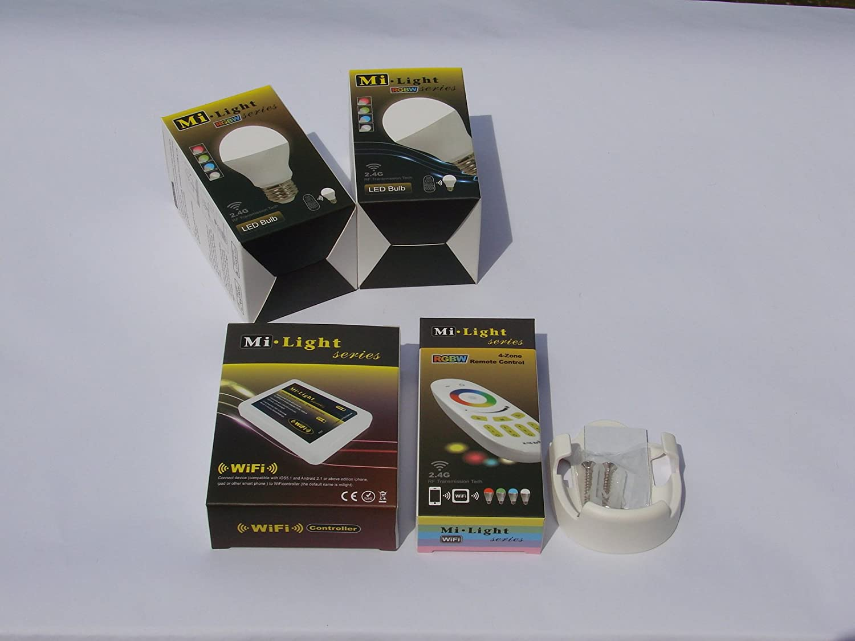 Mi-Light 2,4G 1 x Fernbedienung 4 Zonen + 1 x Halterung für FB + 2 x E27 LED RGB+WW Lampe 6 Watt original MILIGHT® , dimmbar, RGB Farbwechsel , + Mi-Light Wlan Controller IBOX 2 , System ansteuerbar via App IOS   Android